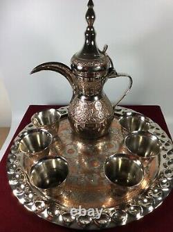 Nice Vintage 8 Pc Dallah Cafetière Arabe Servant Mis Au Cas Où