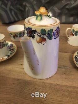 Paragon Étoile Poignée Rose Jaune Café Set Belle Vintage Chine Art Déco