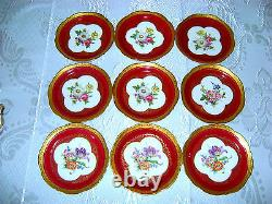 Pas De Théière ! Antique Vtg Allemand Lindner Kueps HP Porceln Red Floral Tea Coffee Set