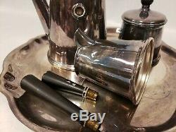 Plaqué Argent Vintage Shreve Crump & Low Co 4 Piece Tea Set Café En Bois Poignées