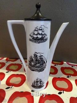 Portmeirion Sailing Ships Vintage Serif Ensemble À Café Par Susan Williams-ellis