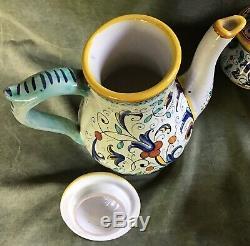 Poterie Vintage Deruta Ricco Demitasse Set De Café 13pc Peint À La Main Italie 1950s