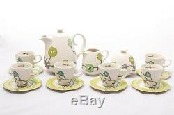 Rare 6 Personne Café Vintage Set Zsolnay Pécs Hungary'90s Porcelaine