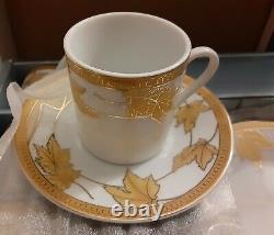 Rare Nib Vintage Gold Leaf Elegancy 12 Pc Fine Porcelain China Coffee Set