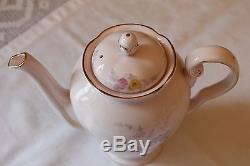 Rare Pink Tuscan Vintage Bone China Tapis De Café Pot Jug Set D'eau Chaude Oriental