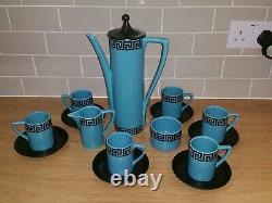 Rare Portmeirion Susan Williams-ellis Grec Key Coffee Set Blue Black Vintage