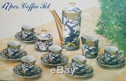 Rare Service À Café Japonais Ancien Vintage De 17 Pièces Peint Multicolore Nouveau! Sensationnel