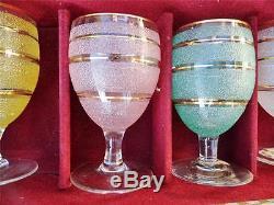 Rare Set 6 Vintage Waterford Domestic Coloré Irlandais Coffee Glasses + Box Irlande