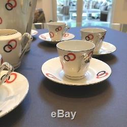 Rare Vintage 1930 Tchèque Victoria Porcelaine Art Déco Café Ensemble Jazz Age