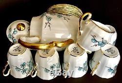 Rare Vintage (1947) Ensemble De Thé / Café En Porcelaine Anglaise Adderley Chinese Blossom