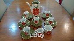 Rare Vintage J & G Meakin Rouge Et Orange Fleur Café Set'dahlia Pot Café