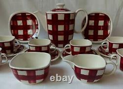 Rare Vintage T G Café Vert Ensemble De Patio Vichy Motif Rouge Coupes Soucoupes Pot Etc