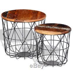 Rétro Tables À Café Vintage Style Reclamé Ensemble De Meubles À La Main En Bois Massif