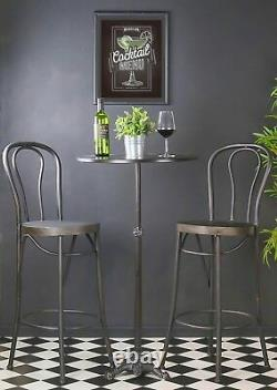 Rétro Vintage Bar Table Tall Chairs Set Stools Sièges Metal Cocktail Wine Coffee