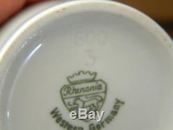 Rhenania W. Allemagne Set De Service De Thé Café 15 Pc. Vintage Bone China Blanc