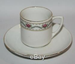 Richard Ginori, Italie Rose Garland, C1687 Vintage 15 Piece Café Set Pour 6