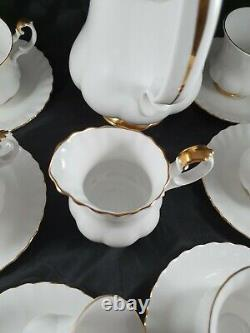 Royal Albert Fine Bone China White/with Gold Rim Val D'or 15 Pieces Coffee Set
