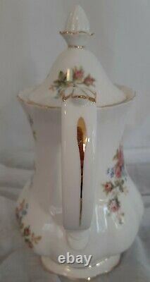 Royal Albert Moss Rose Cafe Set Vintage 1980's Fine Bone China England Vgc
