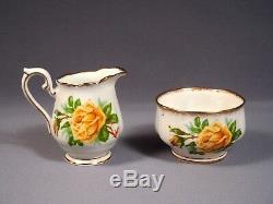 Royal Albert Yellow Tea Rose Bone China Coffee Cacao Set Pot Vintage Angleterre