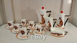 Royal Doulton Reynard La Fox Demitasse Service À Café Collection De Chasse Vintage