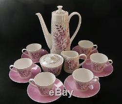 Royal Toscane Forest Glade Café Pour 6 Rose Vintage Chine Rétro C1960s