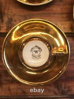 Royal Worcester Rare Vintage Gold Lustre Ensemble De Café Complet Emballage Original