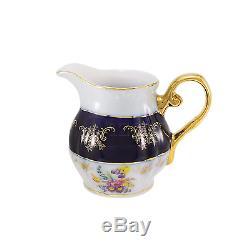 Service À Café Avec Porcelaine Euro Premium, 17 Pièces, Tasse À Thé Bleu Cobalt, Vintage Floral