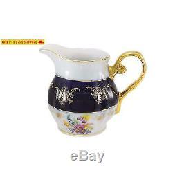 Service À Café Avec Tasse À Thé 17 Pièces, Porcelaine Euro, Bleu Cobalt Foncé, Vintage Floral