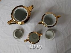 Service A Cafe Limoges France Vert Empire Or Coffee Set Français Porcelain Vintage