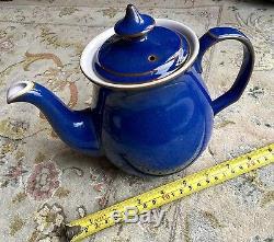 Service À Café Vintage Avec 13 Potions En Grès Anglais Denby Imperial Blue