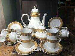 Service À Café Vintage De 27 Pièces En Porcelaine Hutschenreuther, Bavière, Garniture Dorée En Allemagne