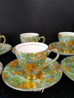Service À Café Vintage Empire Anglais Golden Wattle Chintz 1952