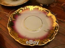 Service À Café Vintage En Porcelaine Bavaroise Rw Rudolph Wacther 6 Tasses 6
