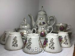 Service À Thé En Porcelaine Vintage À Motif Floral Avec Garniture Dorée Japon