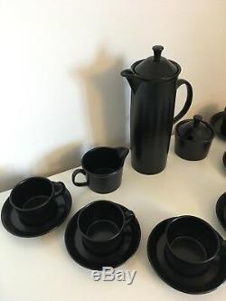 Service À Thé Vintage Rare Wedgwood Black Basalt Cafetière Robert Minkin 1963 Mint
