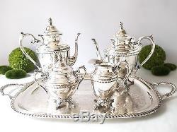 Service De Thé À Café Vintage Silver Plate Avec Plateau 5 Pièces