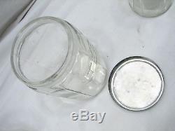 Set 5 Vintage Glass Hoosier Type Jars Panneau Shaker Coffee Tea Salt / Pepper Spice