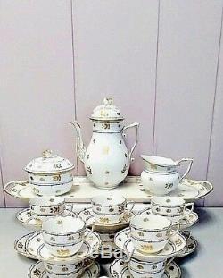 Set À Café Herend Coronation Vintage Avec Plateau À Sandwich Pour 10 Personnes
