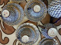Set De Café Bleu Lomonosov Vintage En Porcelaine Impériale, Cobalt, Bleu, Or 22 Carats Urss