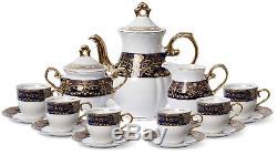 Set De Café En Porcelaine Euro Premium, 17 Pièces, Bleu, Cobalt Foncé, 24k Vintage 6