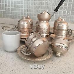 Set De Service De Café Et D'espresso À Base De Cuivre Fabriqué À La Main À La Maintelle De Goutte -6cups