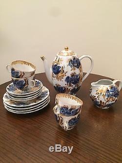 Set De Thé / Café En Porcelaine De Jardin Golden Vintage Lomonosov Russe Svce Pour 4