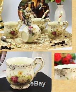 Set De Thé En Porcelaine Vintage Ivoire Café Set Or Rouge Design Floral Tasses Pot Cadeau