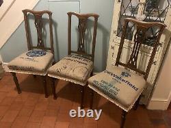 Set X 3 Chaises Rembourrées En Bois Ancien En Sac De Café Industriel Rustique