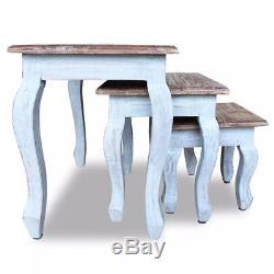 Shabby Chic Nid De Tables Café Table D'appoint Salon Vintage Rétro Ensemble De 3