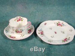 Shelley Rose Et Daisy Rouge 13425 Service À Café Thé Raffiné Tasses Bone China Vintage