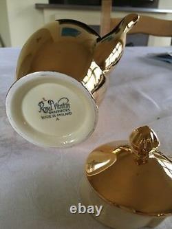 Superbe Coffret De Café Royal Winton Grimwades Gold Lustre Pour Six