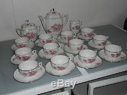 Superbe Ensemble Thé / Café En Porcelaine Vintage 27 Pièces