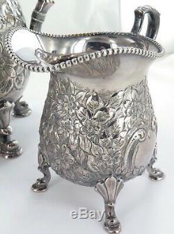 Superbe Qualité Vintage Main Chased Repousse Silverplate 3 Pièces Réglage Café