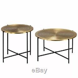 Table Basse Vintage Ensemble Rond Haut Or Jambe Jambe Côté Salon Lounge Meubles De Maison